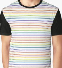 Split Rainbow Mattress Ticking Narrow Stripes Pattern Graphic T-Shirt