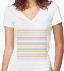 Solid Rainbow Mattress Ticking Narrow Stripes Pattern Women's Fitted V-Neck T-Shirt