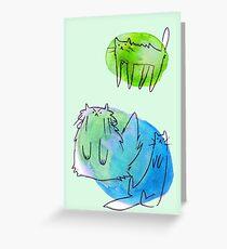 Goofy Watercolor Cats Greeting Card