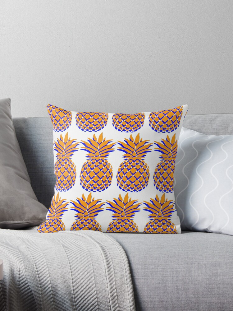 Orange & Blue Pineapple 2 by Amy Hall