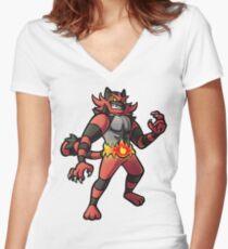 Incineroar Women's Fitted V-Neck T-Shirt