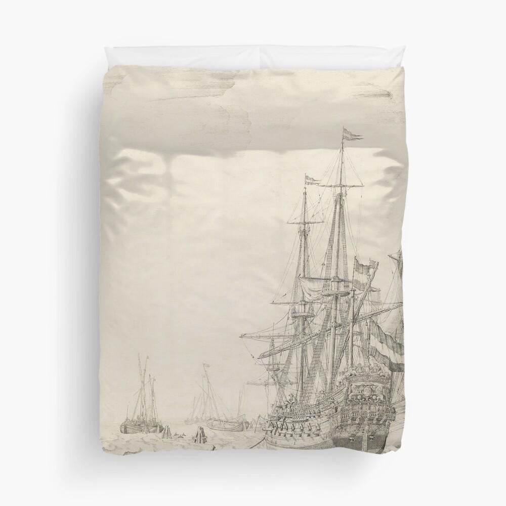 Dutch Ships near the Coast Oil Painting by Willem van de Velde the Elder Duvet Cover