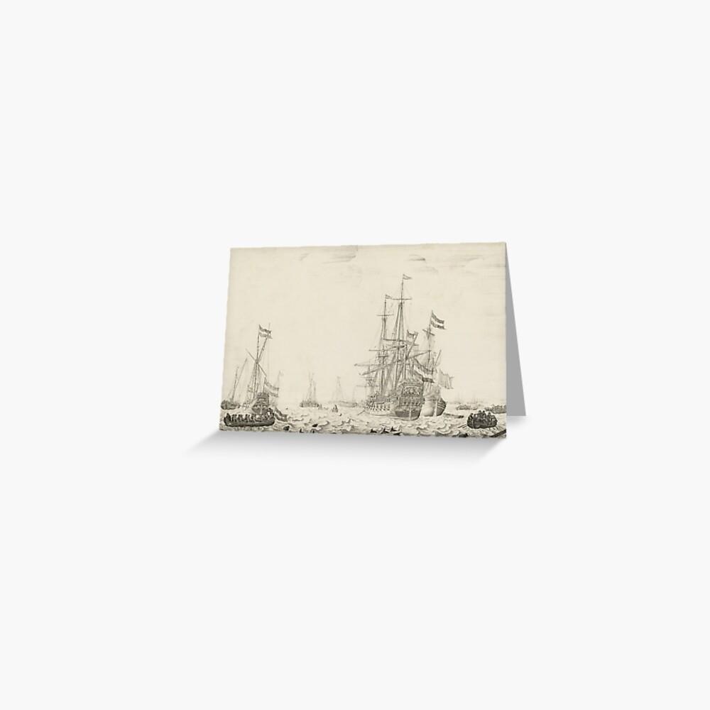 Dutch Ships near the Coast Oil Painting by Willem van de Velde the Elder Greeting Card