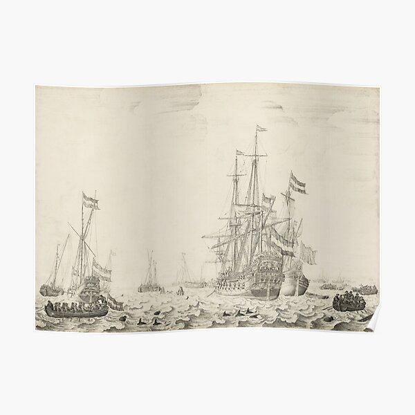 Dutch Ships near the Coast Oil Painting by Willem van de Velde the Elder Poster