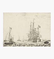 Dutch Ships near the Coast Oil Painting by Willem van de Velde the Elder Photographic Print