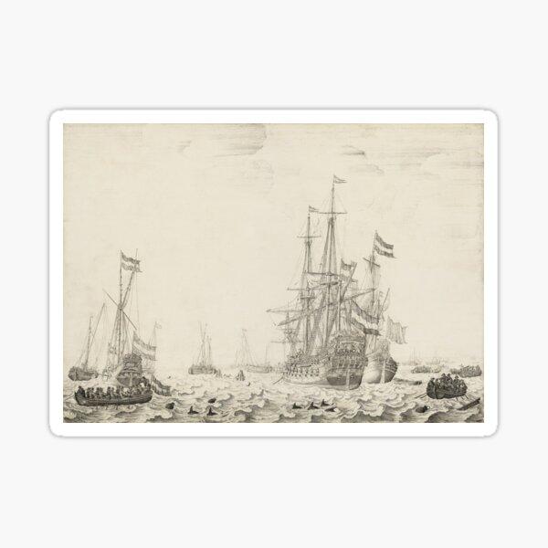 Dutch Ships near the Coast Oil Painting by Willem van de Velde the Elder Sticker
