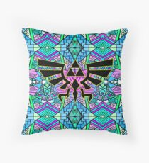 Hylian Royal Crest - Legend Of Zelda - Pattern Blue Throw Pillow
