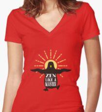 Funny animal wisdom penguin aura zen like a master Women's Fitted V-Neck T-Shirt