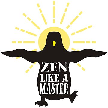 Funny animal wisdom penguin aura zen like a master by BigMRanch