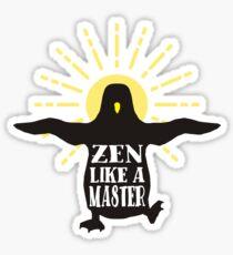 Funny animal wisdom penguin aura zen like a master Sticker