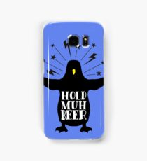 Funny animal angry penguin hold muh beer Samsung Galaxy Case/Skin