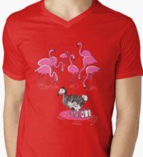The Flamingos Celebrated When Dodo Arrived Men's V-Neck T-Shirt