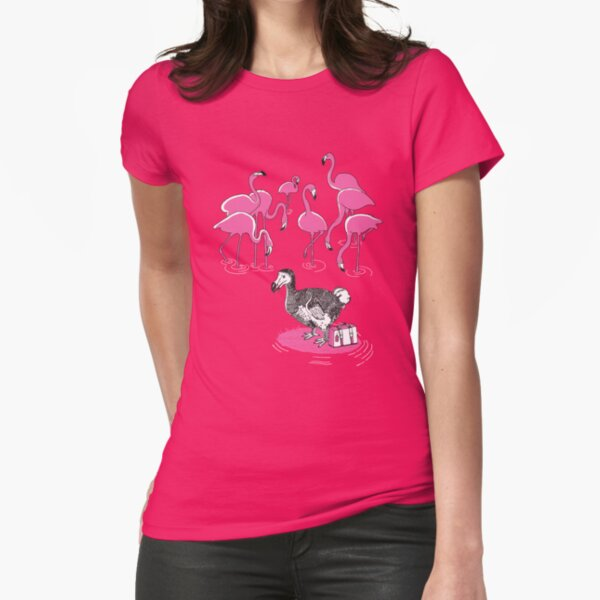 The Flamingos Celebrated When Dodo Arrived Fitted T-Shirt
