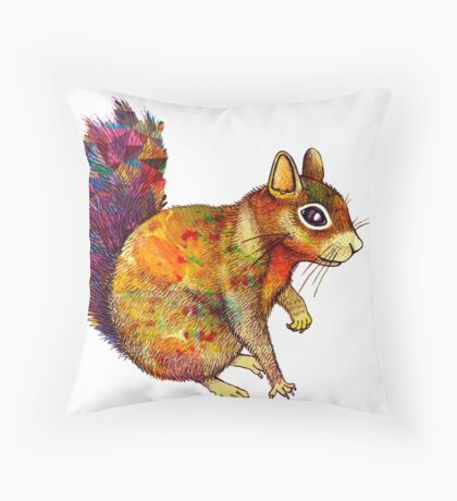 Squirrel Art Throw Pillow