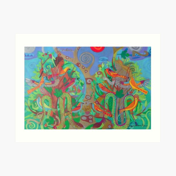 Two Trees and Fig Leaves in the Garden of Desire Art Print