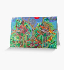 Two Trees and Fig Leaves in the Garden of Desire Greeting Card