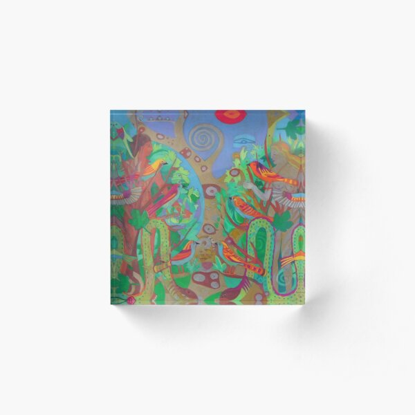 Two Trees and Fig Leaves in the Garden of Desire Acrylic Block