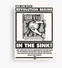 Men and Boys: Revolution Begins in the Sink! (IWW Vector Recreation, Proceeds to IWW) Canvas Print