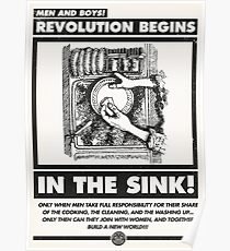 Men and Boys: Revolution Begins in the Sink! (IWW Vector Recreation, Proceeds to IWW) Poster