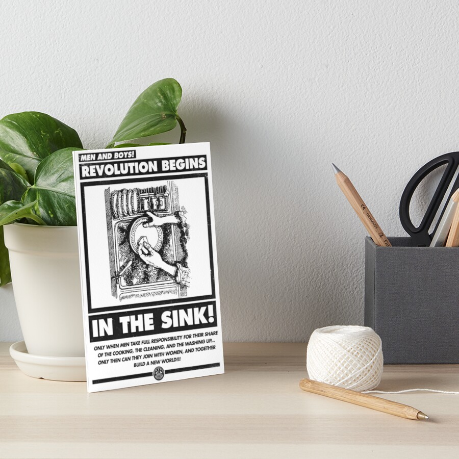 Men and Boys: Revolution Begins in the Sink! (IWW Vector Recreation, Proceeds to IWW) Art Board Print