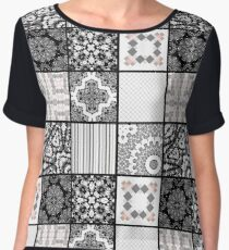 Patchwork . Squares of black, gray Patterns . Chiffon Top
