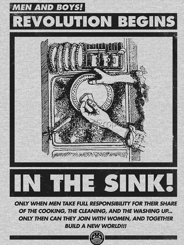 Men and Boys: Revolution Begins in the Sink! (IWW Vector Recreation, Proceeds to IWW) by kounterpropos