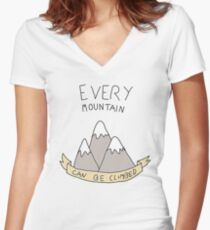 every mountain can be climbed Women's Fitted V-Neck T-Shirt