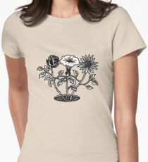 black and white floral Womens Fitted T-Shirt