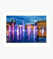 Fountains of the Post Square in Kyiv Art Print