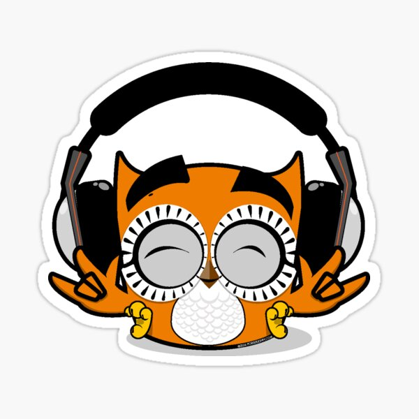 Payaso Headphones Owl Sticker