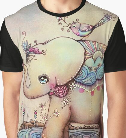 Little Diana the Vintage Elephant Princess Graphic T-Shirt