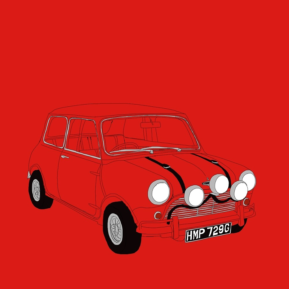 Red Original Mini Cooper - The Italian Job by Martin Lucas