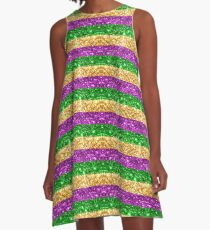 Mardi Gras Glitter Stripes A-Line Dress