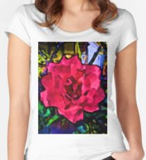 Strong Pink Rose Women's Fitted Scoop T-Shirt