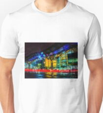 Tram rushing past Southern Cross Railway Station, Melbourne, Victoria, Australia. Unisex T-Shirt