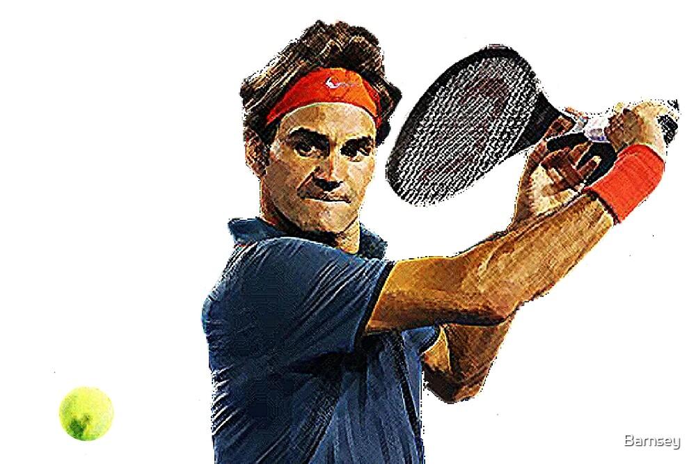 Roger Federer in action by Barnsey