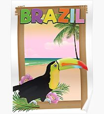Brazil Toucan beach holiday poster Poster