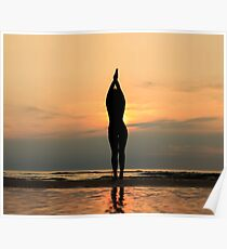 beautiful woman silhouette on beach Poster