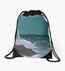 Mermaid on a rock Drawstring Bag