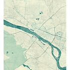 Plock Map Blue Vintage by HubertRoguski