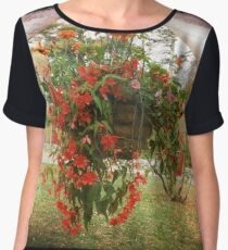 BLOOMS, BLOSSOMS AND BIRDS Women's Chiffon Top