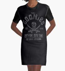 The Goonies - Never Say Die - Grey on Black Graphic T-Shirt Dress