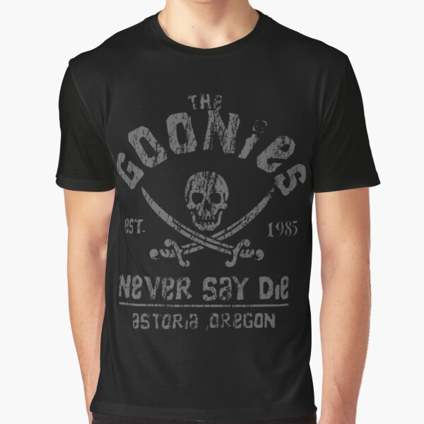 The Goonies - Never Say Die - Grey on Black Graphic T-Shirt