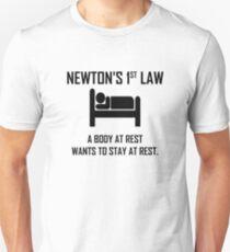 Newtons erstes Gesetz - lustiger Physik-Witz Slim Fit T-Shirt