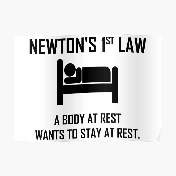 Newton's First Law- Funny Physics Joke Poster