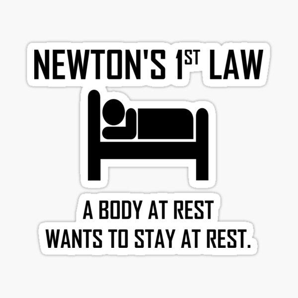 Newton's First Law- Funny Physics Joke Sticker
