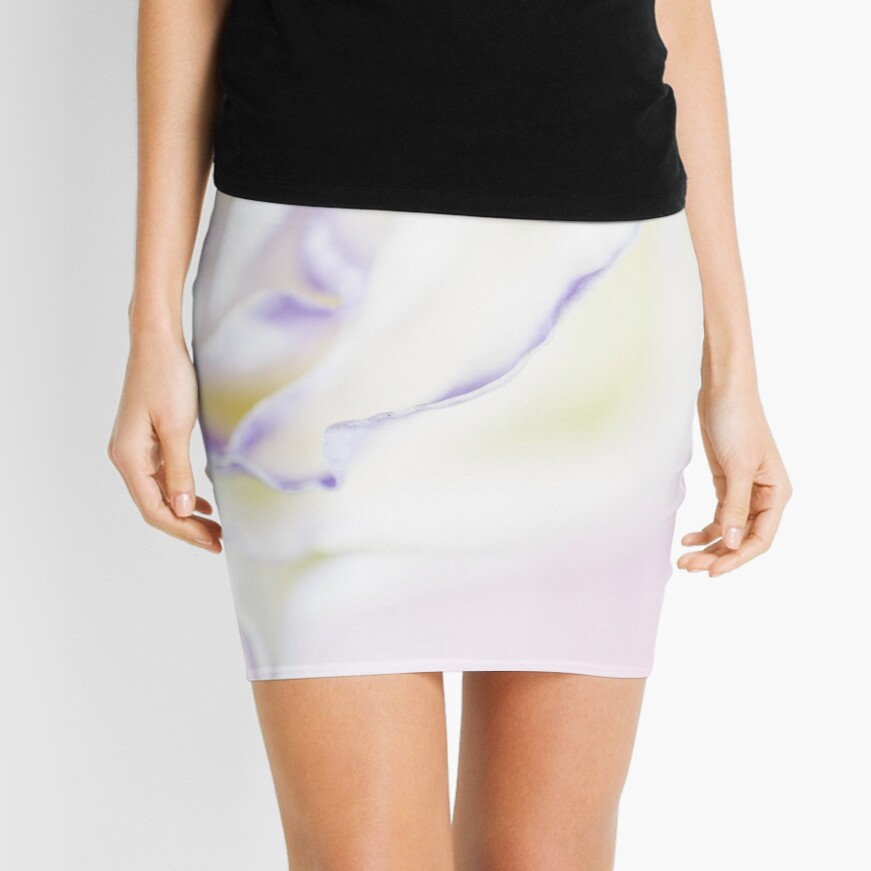 white rose with purple tips Mini Skirt