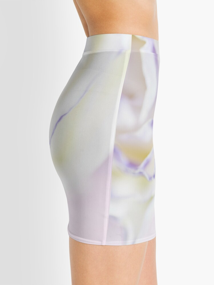 Alternate view of white rose with purple tips Mini Skirt
