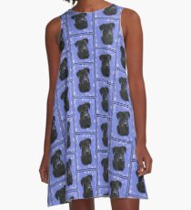 Black Lab in blue A-Line Dress