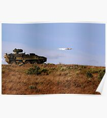 A TOW missile is launched from an armored vehicle. Poster